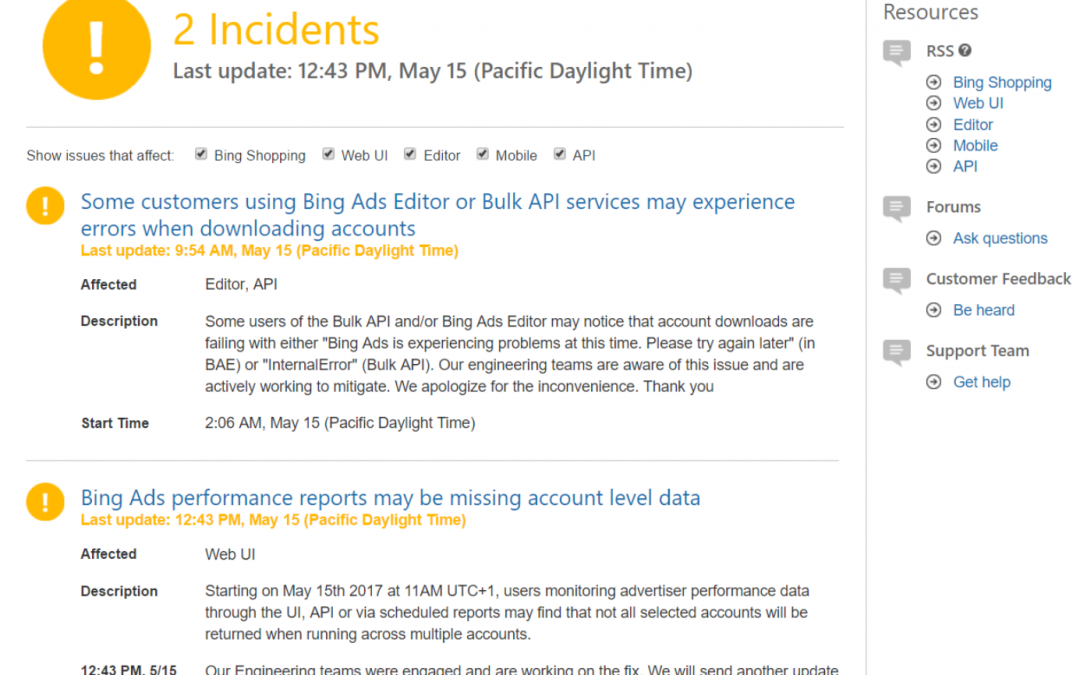 Bing Ads API Services Down – May 15th, 2017