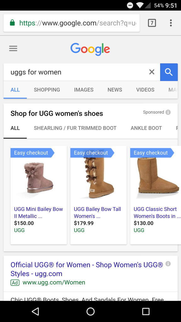uggs purchases on google