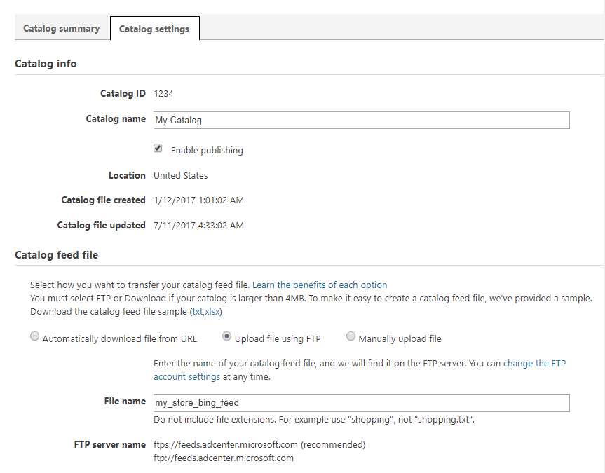 """Bing Shopping """"we are unable to map your file"""" Error"""