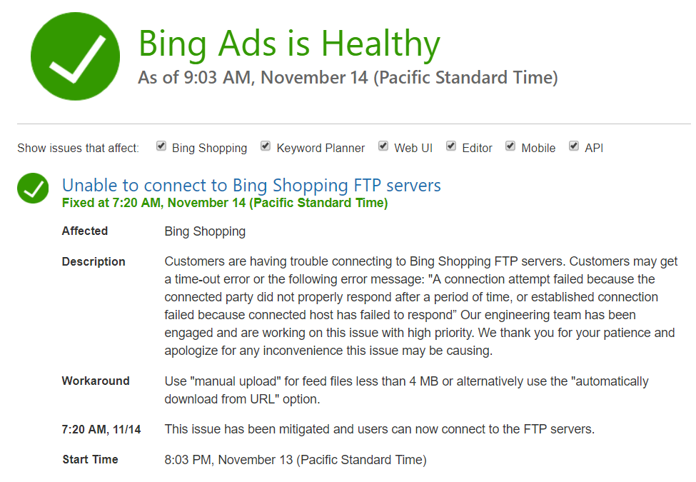 Bing Shopping FTP Down