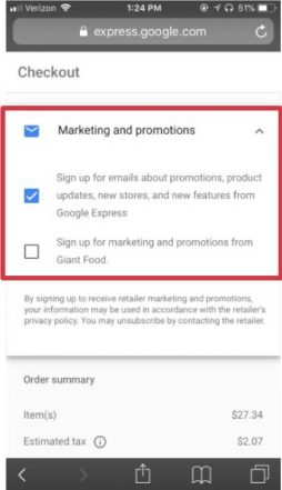 Google Shopping Actions Mobile Checkout