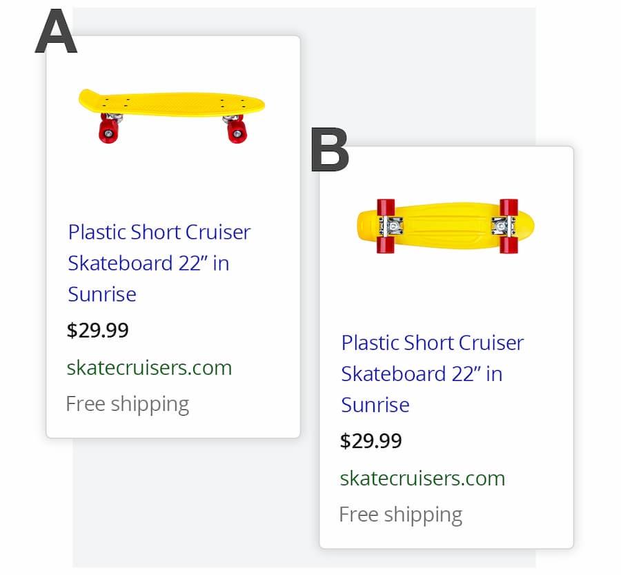 Split testing Google shopping ads