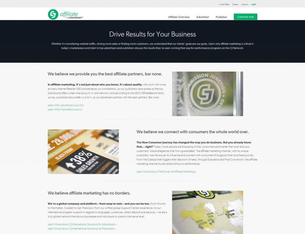 CJ Affiliate homepage