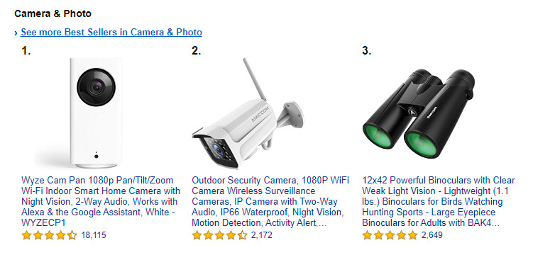 Amazon's Best Sellers in the Camera and Photo category