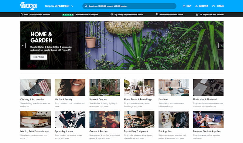 Fruugo homepage