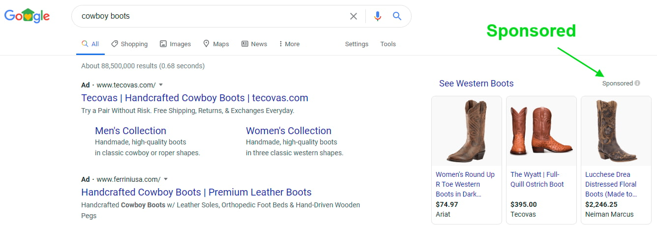 Sponsored Google Shopping Ads showing cowboy boots on a search for cowboy boots