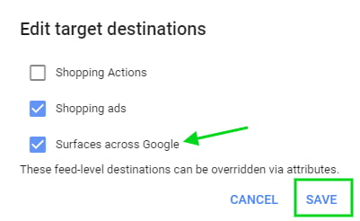 Edit target destinations to get products listed for free