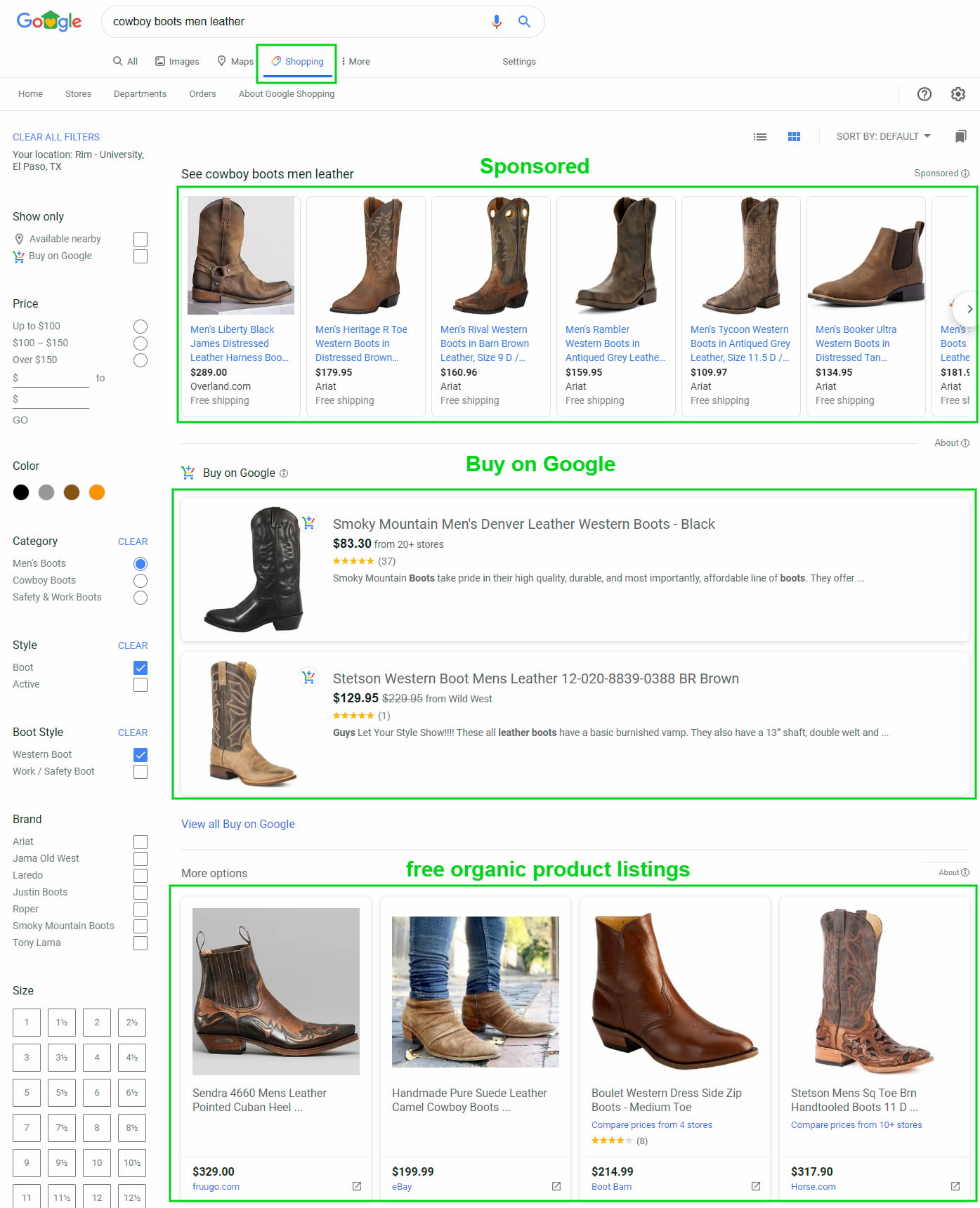 Google Shopping free listings for an organic search