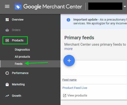 Google Merchant Center product feed menu