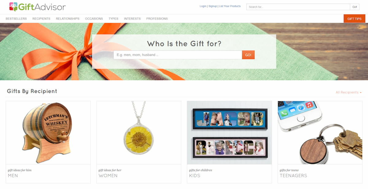 GiftAdvisor homepage