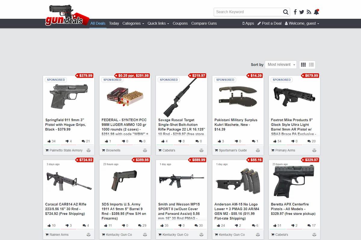 Gun.deals homepage