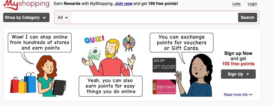 Myshopping homepage