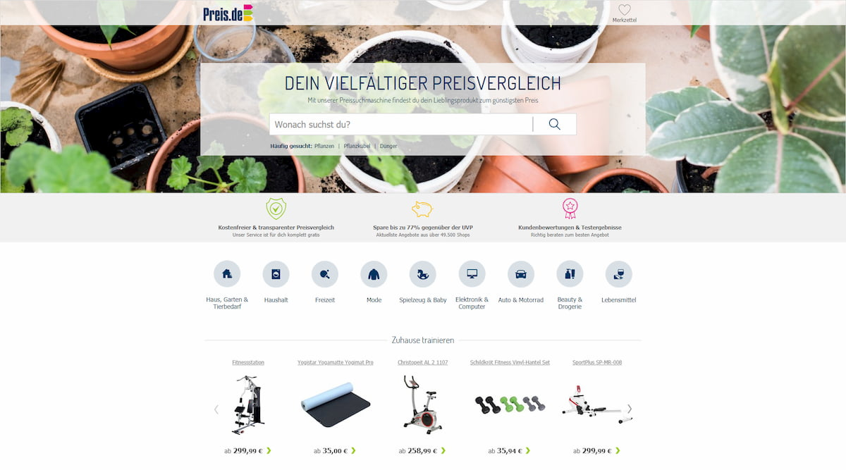 Preis.de homepage