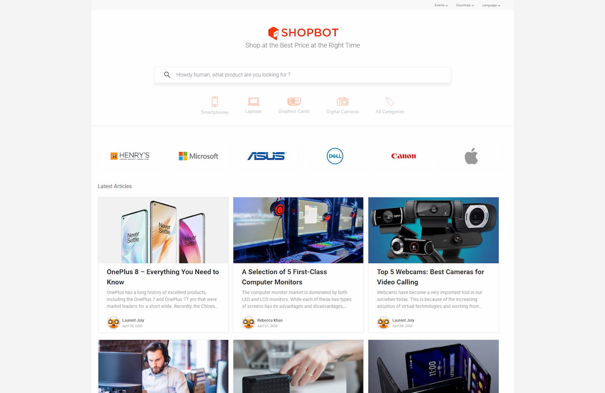 Shopbot homepage