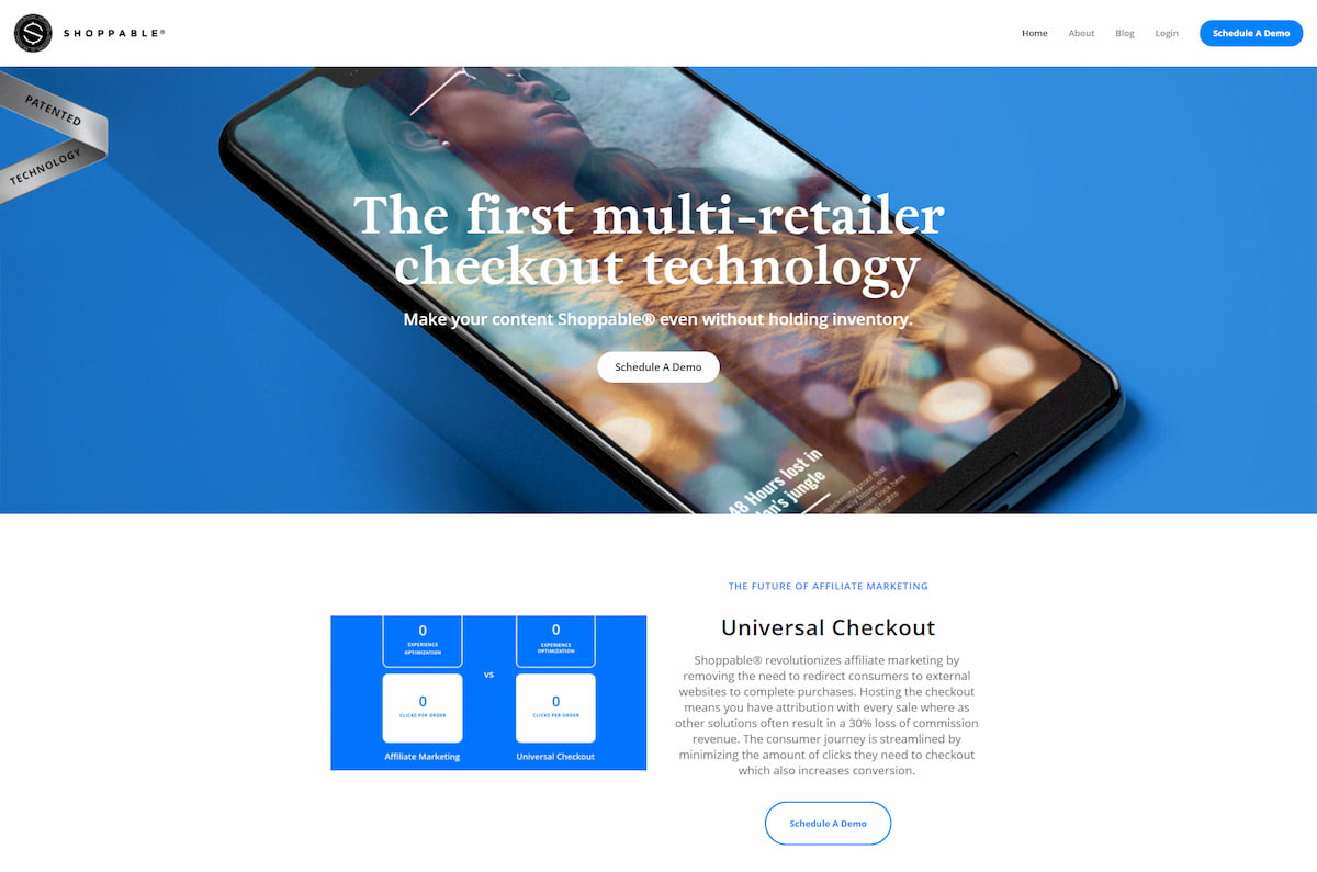 Shoppable homepage