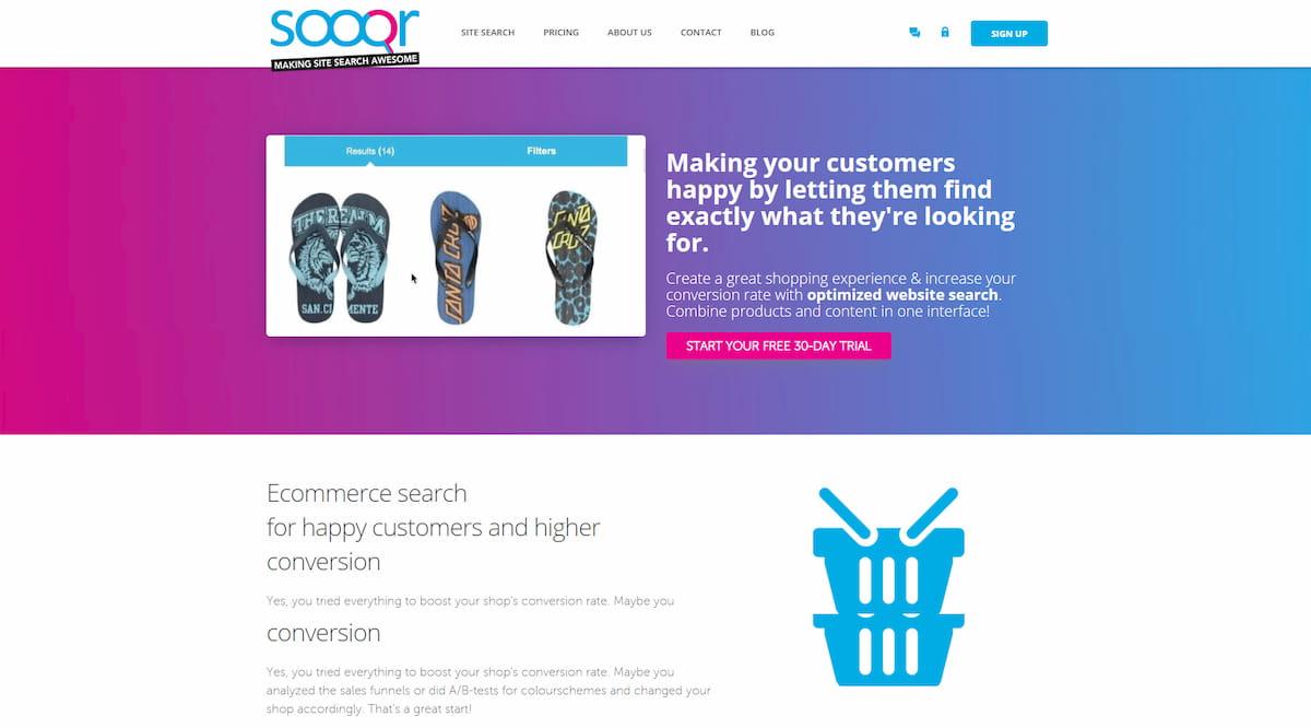 Sooqr homepage