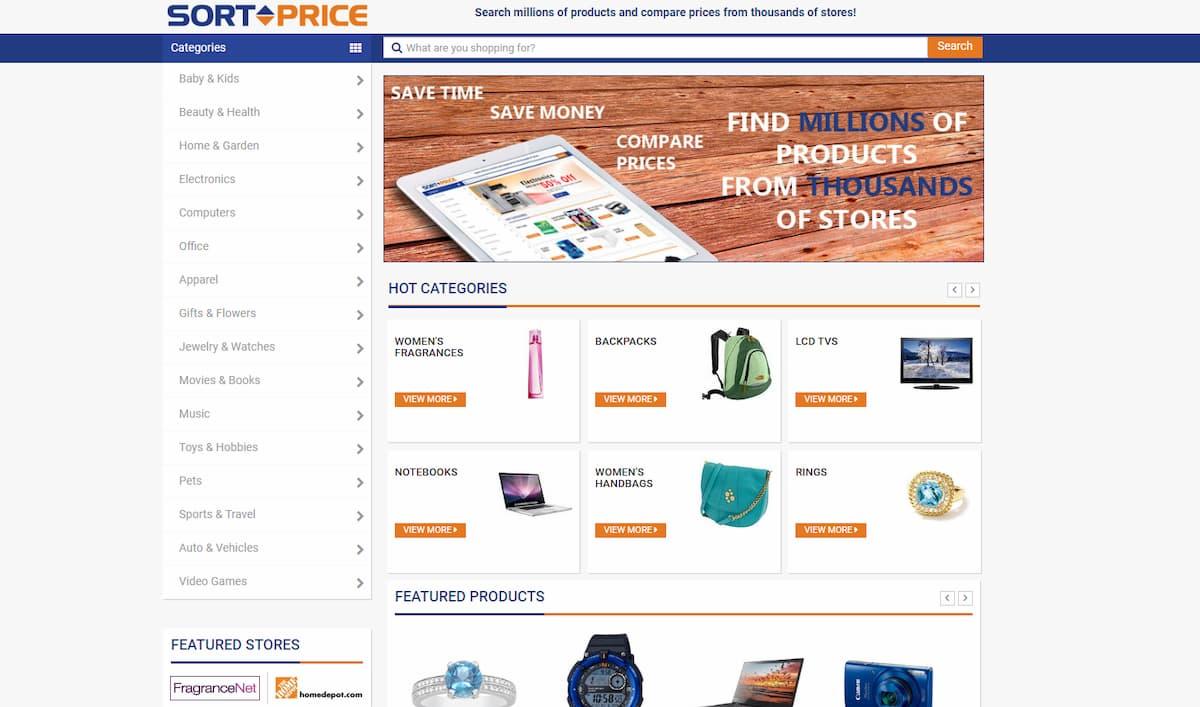 SortPrice homepage