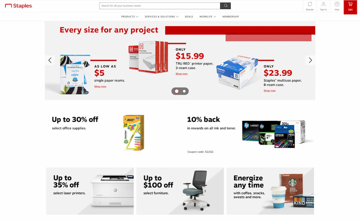 Staples Exchange homepage