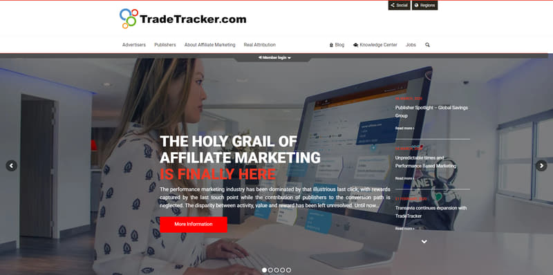 TradeTracker homepage