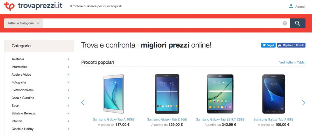 Trovaprezzi homepage