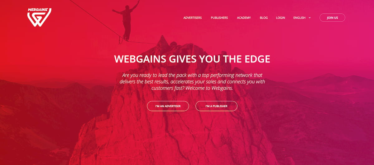 Webgains homepage