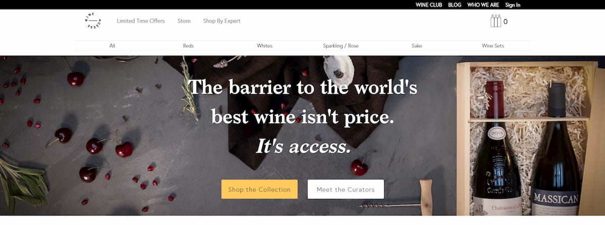 WineAccess homepage
