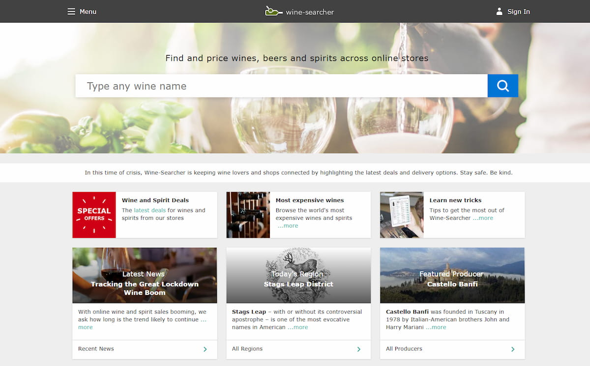 Winesearcher homepage