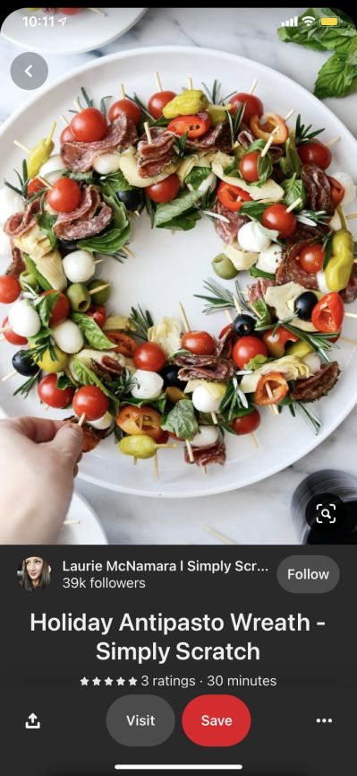 Pinterest Pin example with an Holiday Antipasto Wreath recipe