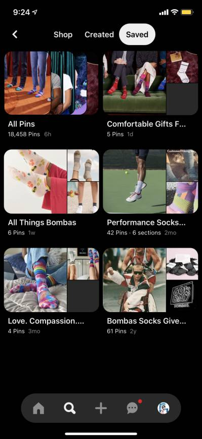 "Pinterest Board example showing multiple item groups such as ""All Pins"" and ""All Items Bombas"""
