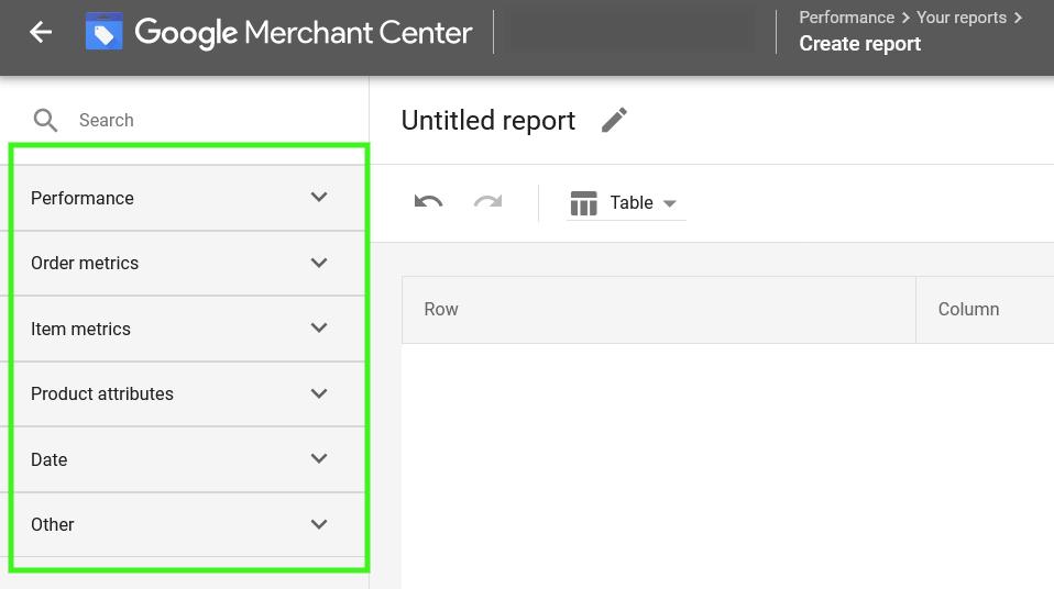 Google Merchant Center Create Custom Report Dashboard