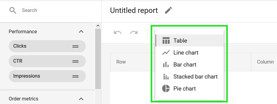 Google Merchant Center custom report view types