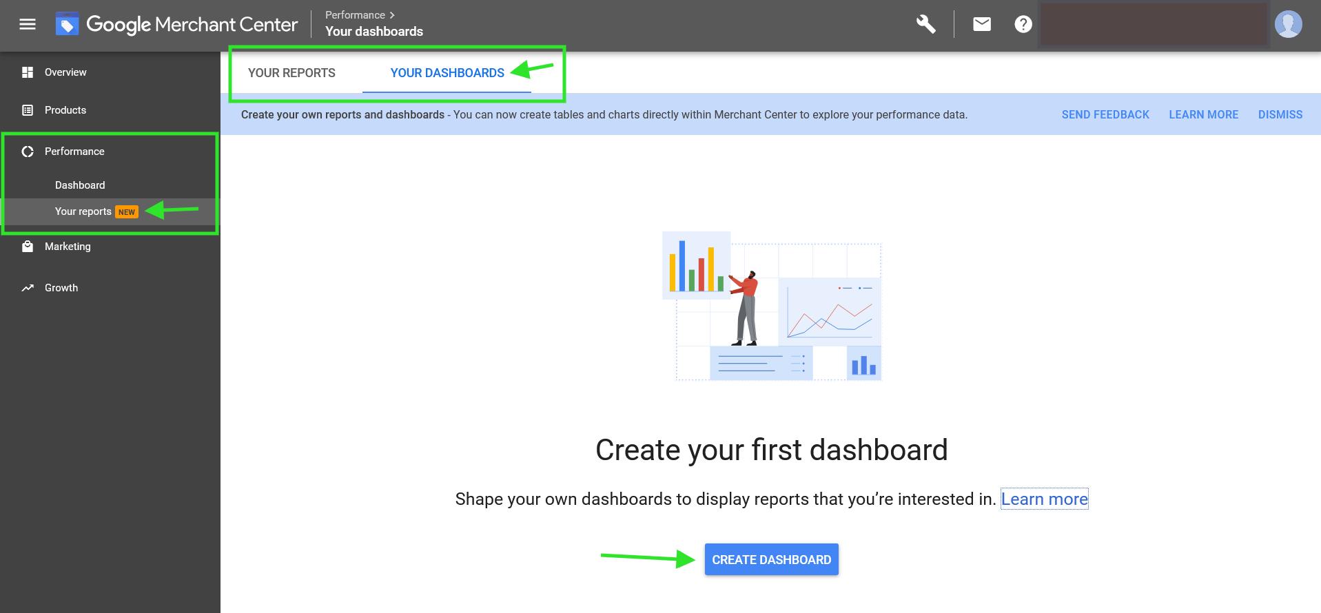 Google Merchant Center custom dashboard creation