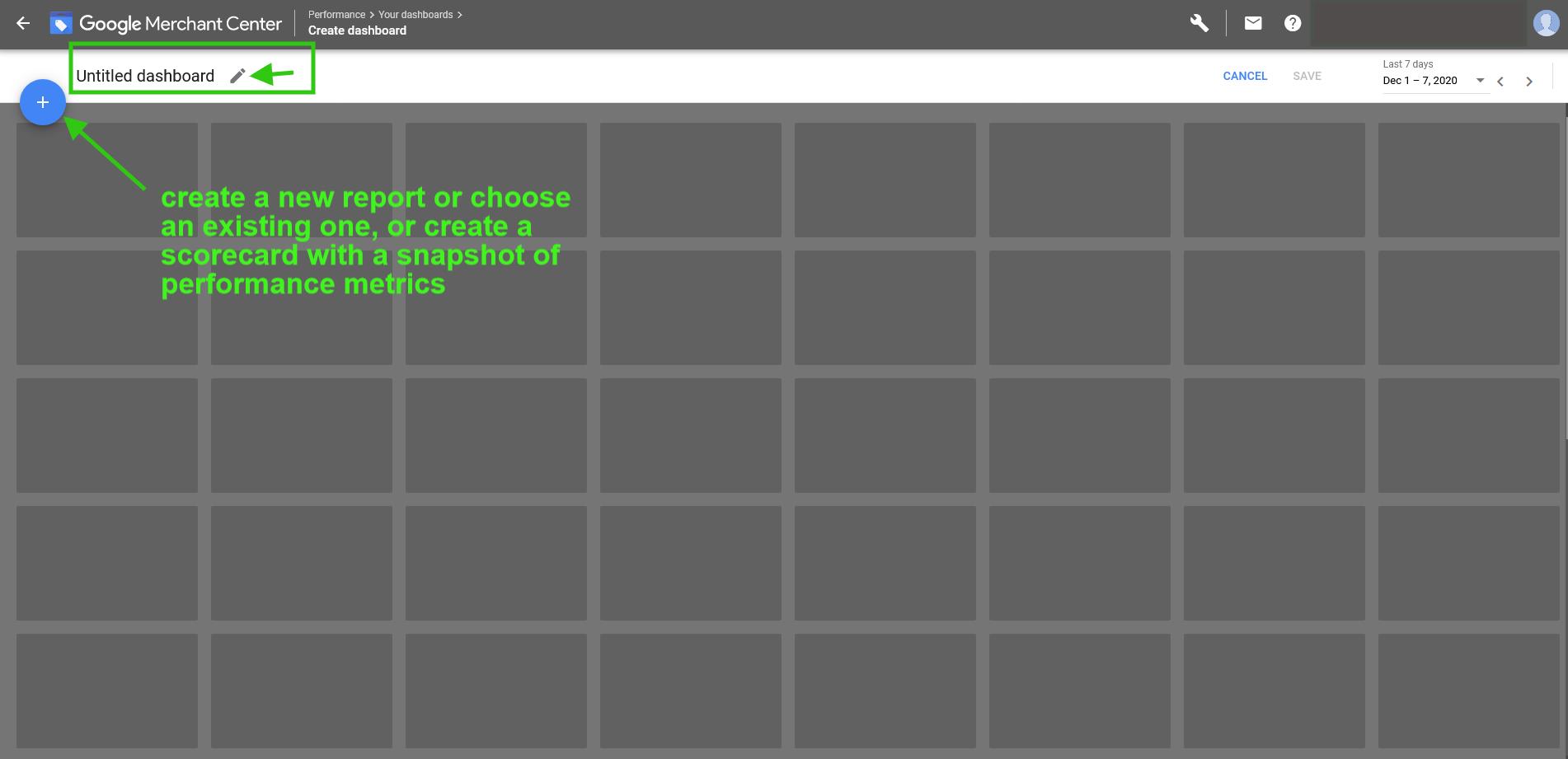 Google Merchant Center custom dashboard adding new report