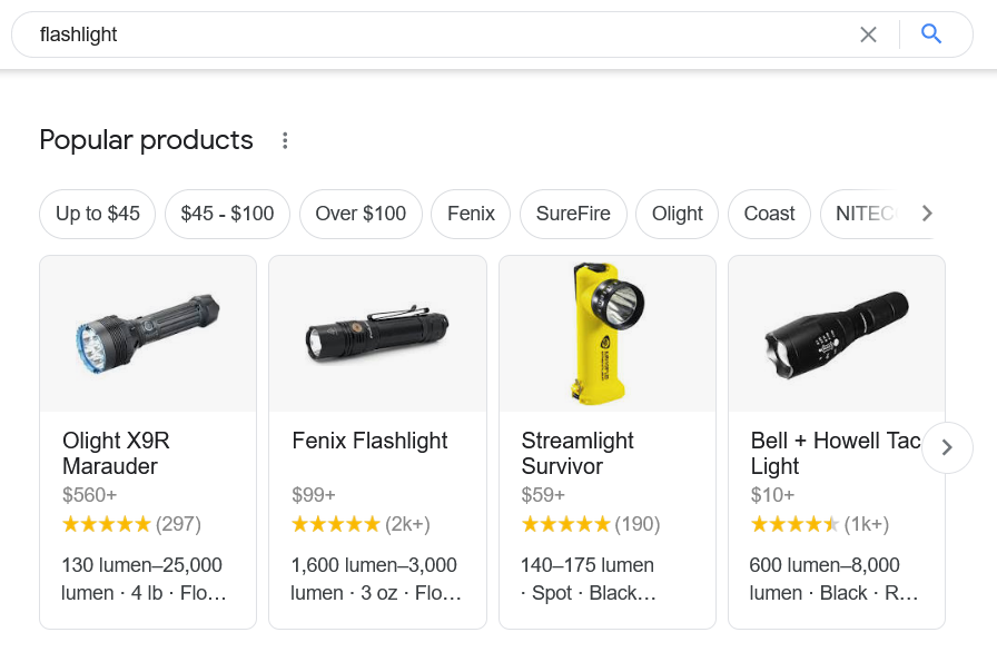 Flashlight results in popular products google search