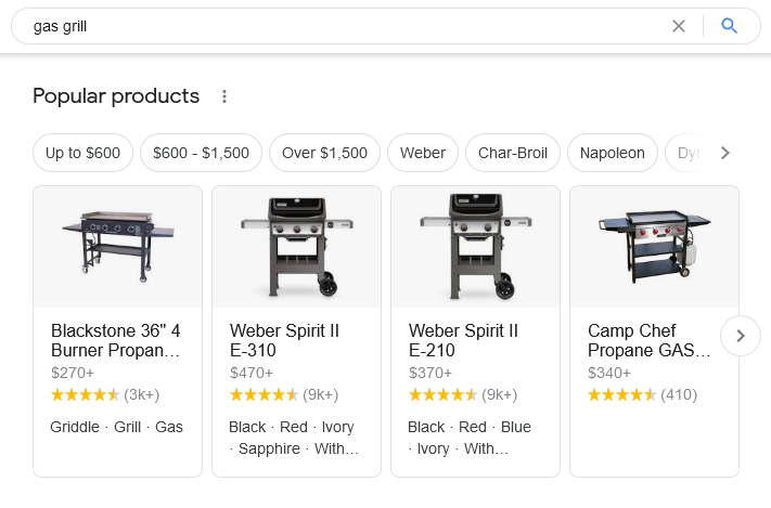"Results for ""gas grill"" search showing new popular products section with 4 grills"