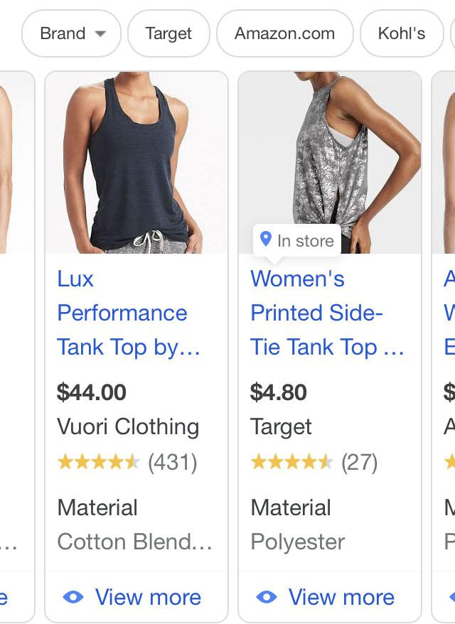 Google shopping ad showing a tank top material as Cotton Blend