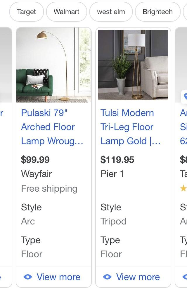 Google shopping ad listing extra properties for lamp listings.