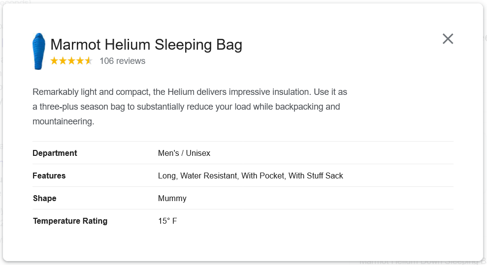 Google Shopping listing more details, including more product properties like the shape and temperature for a sleeping bag
