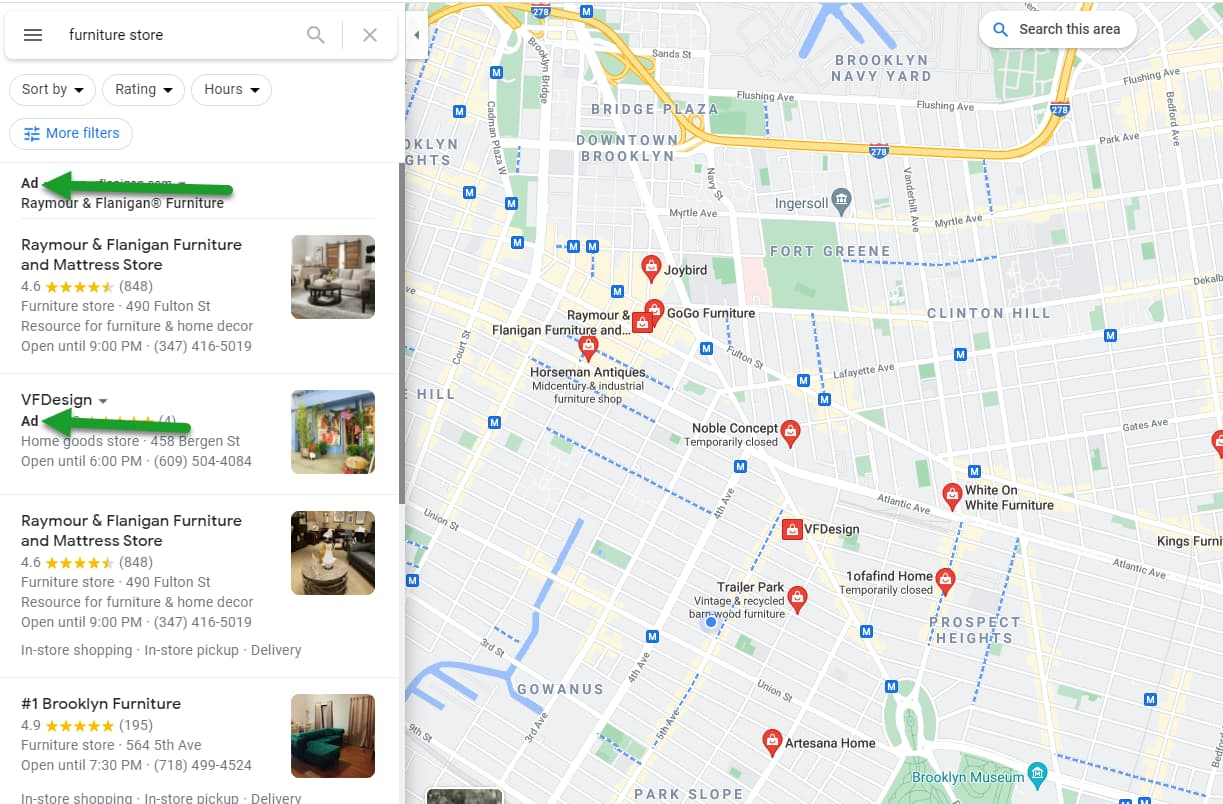 Local search ad indicators in Google Maps